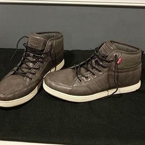 Mens grey leather Levi's high top sneaker